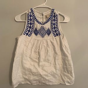J Crew Royal Blue and White embroidered Tank